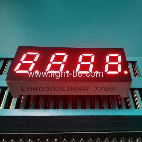 Ultra Red 0.3inch 4 digit 7 segment led display with Red segments black surface