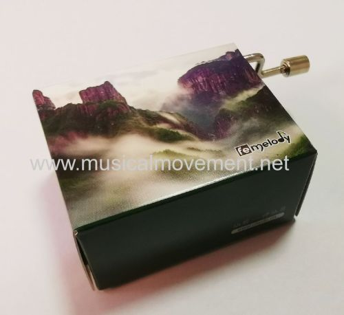 Customize Your Own Design Paper Packaging Wooden Base HAND CRANK MUSIC BOX
