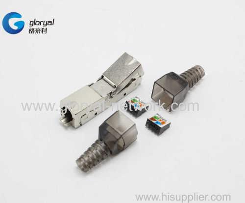 DUAL PORT DOUBLE PORT STP Cat6A or cat.6 TOOLLESS Modular Plug shielded RJ45 TOOLLESS Plug