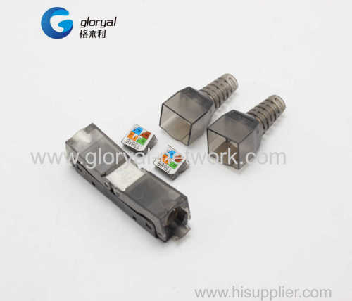 DUAL PORT double port Cat6A or cat.6 TOOLLESS Modular Plug utp UN-shielded RJ45 TOOLLESS Plug