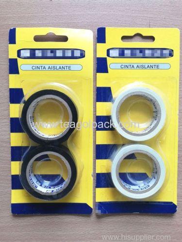 2 Roll set PVC Insulation Tape 0.13mmx15mmx7M Black/White