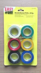 6 Pcs Coloured Adhesive PVC tape 0.13mmx18mmx10M