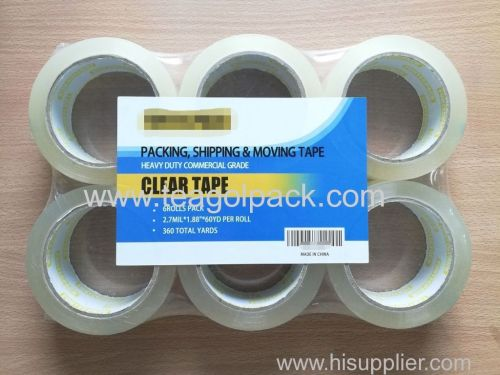 Packing Shipping Moving Tape 6Rolls Pack Commercial Grade 2.7Milx1.88  x60Yd