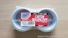 """2 Pack Carton Sealing Tape Clear 1.89""""x30Yards (48mmx27M)"""