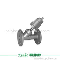 linear stroke pneumatic angle seat valve