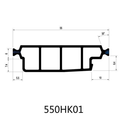 55mm PA66 GF25 Hollow Chamber Thermal Break Polyamide Profiles