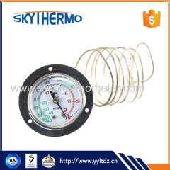 high quality stainless steel flange small round boiler industrial thermometer with capillary tube
