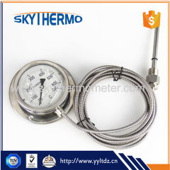 high quality all stainless steel back mounting industrial capillary temperature gauge thermometer with flange