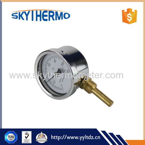 High sensitivity bottom connection boiler bimetal thermometer