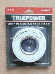 19mm Wx2.5m L Double Side EVA Foam Mounting Tape White