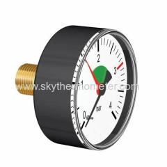Back plastic pressure gauge with red pointer Bourdon Tubes Air Pressure Gauge 0-10 Bar Manometer