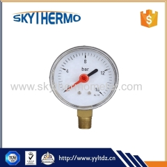 Bottom plastic case manometer 0-16Bar pressure gauge with red pointer