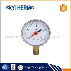 Bottom plastic case manometer 0-16Bar pressure gauge with red pointer