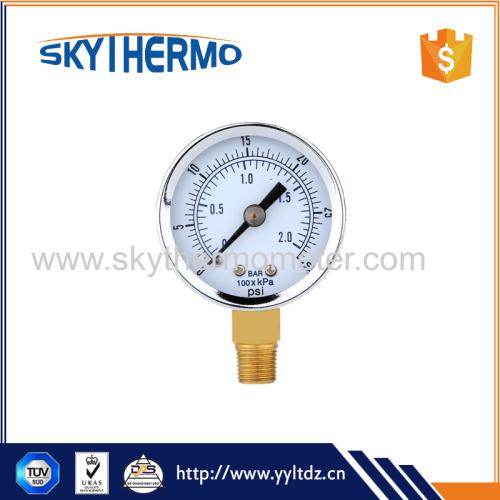 Hydraulic Pressure Gauge Mini Pressure Measuring Instruments Fine Dial Manometer Double Scale Air Compressor Meter