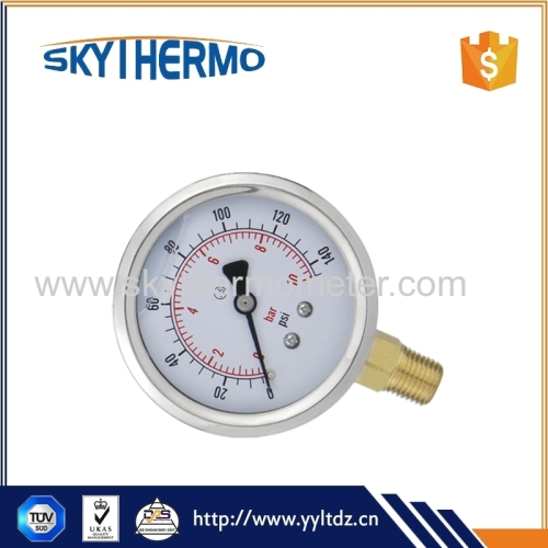different dial size oil filled bottom ss type bourdon type safety pressure gauge manometer