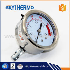 Back connection all SS manometer vacuum oil fiiled pressure gauge with bracket Multiple range gauge