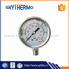 All stainless steel Standard oil Liquid Filled SS Bourdon Tube Pressure Gauge Manometer bottom connection Vacuum Gauge