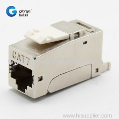 TOOLLESS or tool-free 90 degree STP FTP Cat.7 RJ45 keystone jack