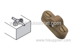 Square clamp for bare copper conductor tape