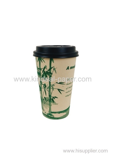 16oz 500ml light brown bamboo paper cups with black cover for coffee drinking