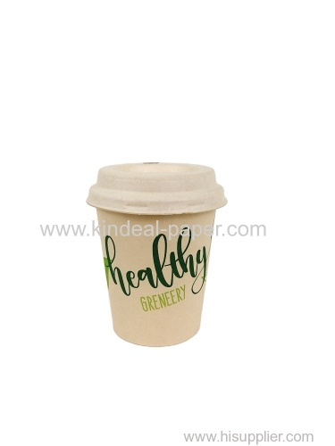 8oz 300ml light brown bamboo paper cups with bagasse pulp lids for coffee drinking