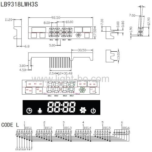 Low cost ultra white 7 segment led display module for kitchen hood /range hood