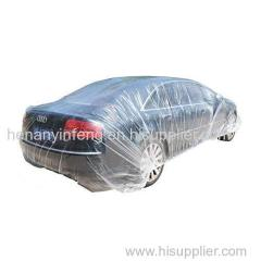 Clear Plastic Car Cover with Elastic Band Disposable