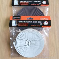 D Section Draught Excluder 6M / D-Profile Self-Adhesive Rubber Foam Seal Strip 6M(3mx2rolls). EPDM-Profile.