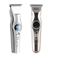 Rechargeable Wireless Silver Body Led Digital Display Hair Trimmer Clippe