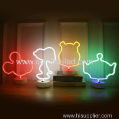 Snoopy Four-Leaf Clover Mickey Squeeze Toy Aliens And Winnie The Pooh Batteries And USB Powered Neon LED Night Lamp