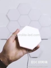 6pcs Creative DIY RGB Quantum Lamp LED Beehive Lamp Modular Touch Sensitive Wall Light with Remote Control