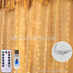 LED Copper Wire Icicle Curtain Lights USB With Remote Fairy Lights String Garland For Wedding Party Curtain Decor