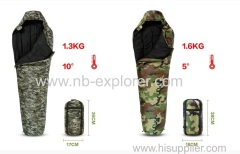 Camo fabric sleeping bag