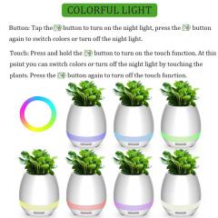 Bluetooth Audio Smart flower Pot touch plant music potted LED lights plastic Vase home decoration accessories toys