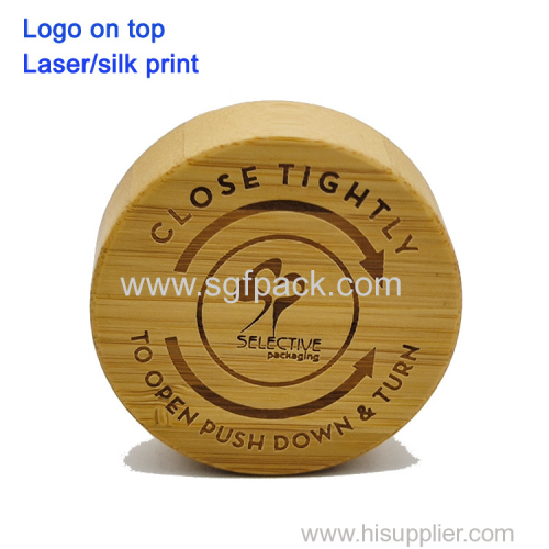 Eco friendly bamboo CR child resistant cap lid for bottles