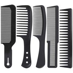 5 Pcs Black Carbon Wide Tooth Comb