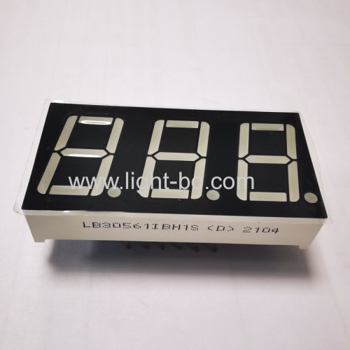 Ultra Blue 0.56 inch common anode 3 digit 7 segment LED display for Instrument Panel