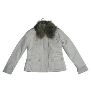 Ladies Padding Jacket with Fur Trim Collars