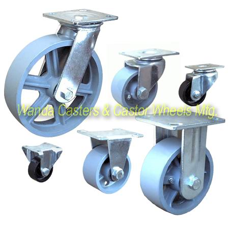 The cast iron caster wheels provide high capacity and are less expensive