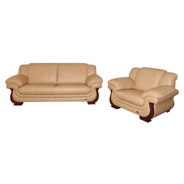 Wooden leg leather sofa