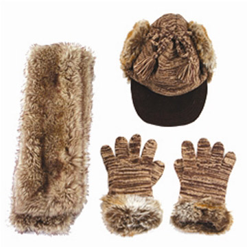 Synthetic Fur Scalf, Hat and Gloves