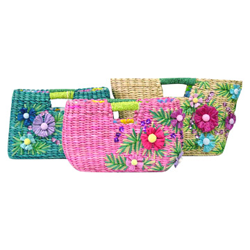 Straw Bags With Flowers