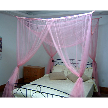 Square Bed Canopies  with Fringe Beads