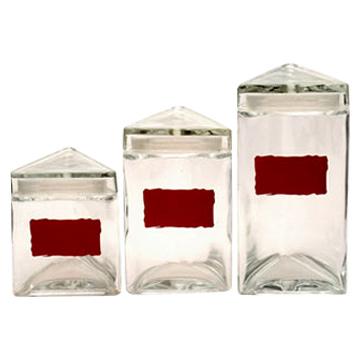 Glass Storage Jar 3 Pcs