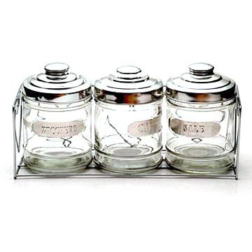 Glass Spice Bottle 3pcs