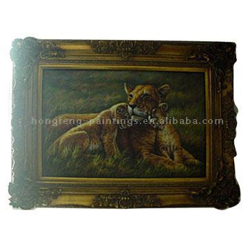 Framed Oil Painting In stock (Animal)