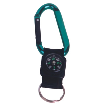 Aluminum Carabiner with Webbing and Compass