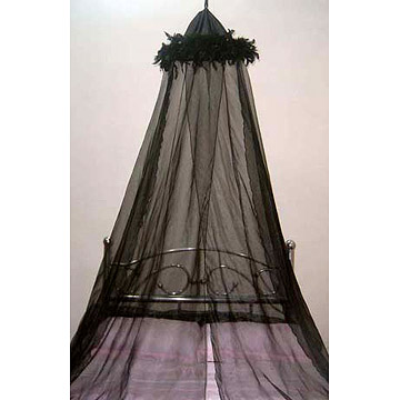 Organza Bed Canopy with Feathers