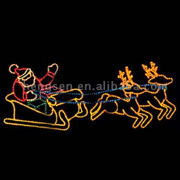 Santa Sleigh And Reindeer Christmas Lights Displayies