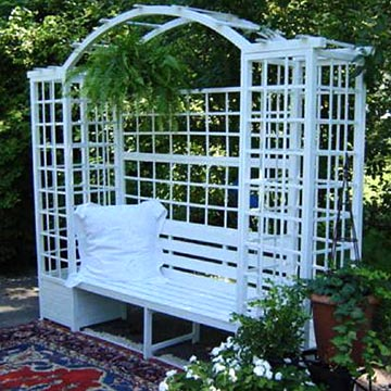 Wooden Bench Trellis